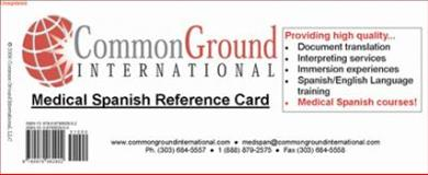 Medical Spanish Reference Card 9780979062902