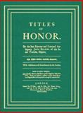 Titles of Honor 9781584774105
